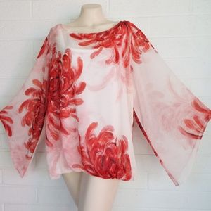 Alfani 3X floral layered angel sleeves blouson top